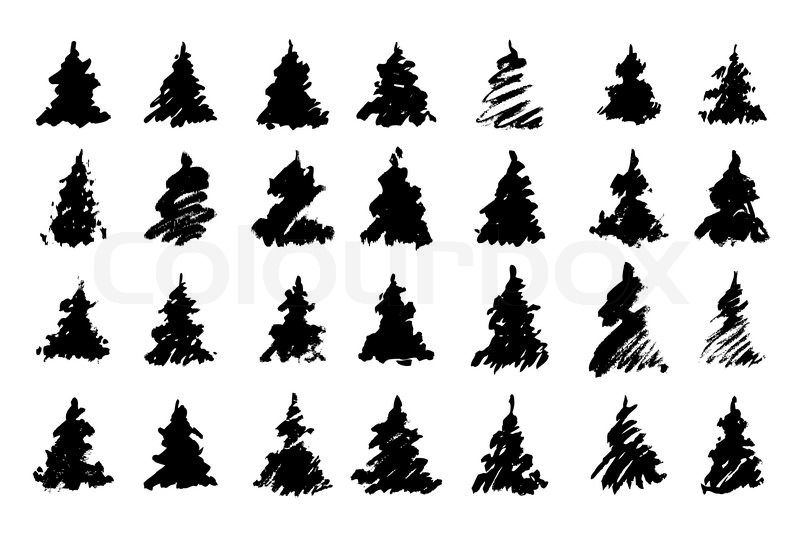 zur ckzuf hren silhouetten gezeichnet weihnachtsb ume. Black Bedroom Furniture Sets. Home Design Ideas