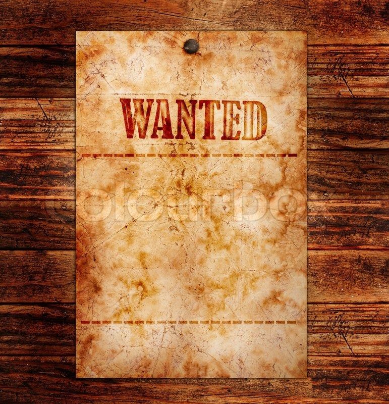 Vintage wanted poster on a wooden wall, stock photo