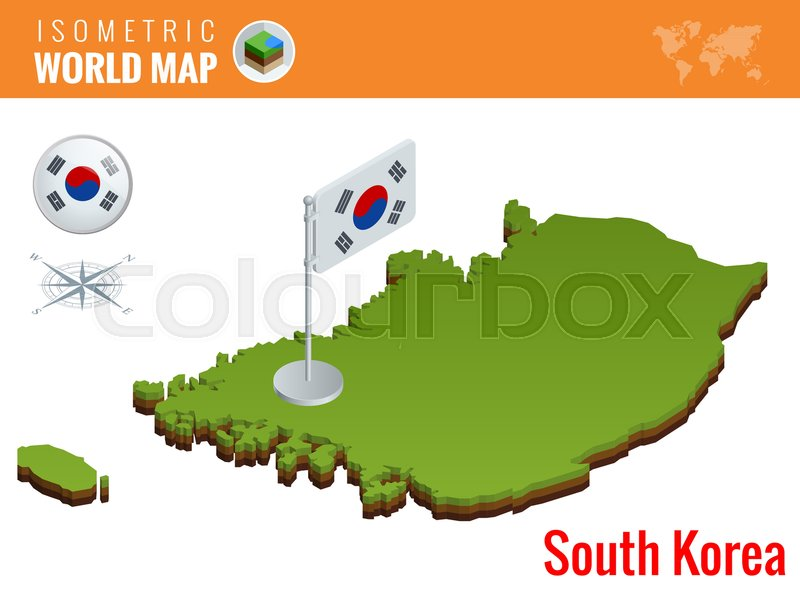 Isometric south korea political map with capital seoul vector isometric south korea political map with capital seoul vector illustration border with name of country stock vector colourbox gumiabroncs Images