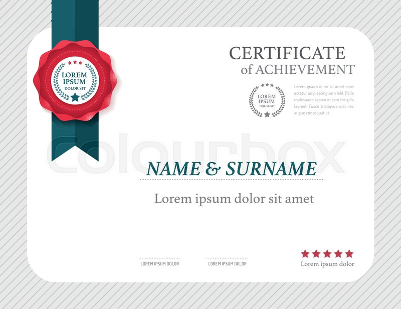 Certificate Template Layout Frame Design Vector Stock Vector