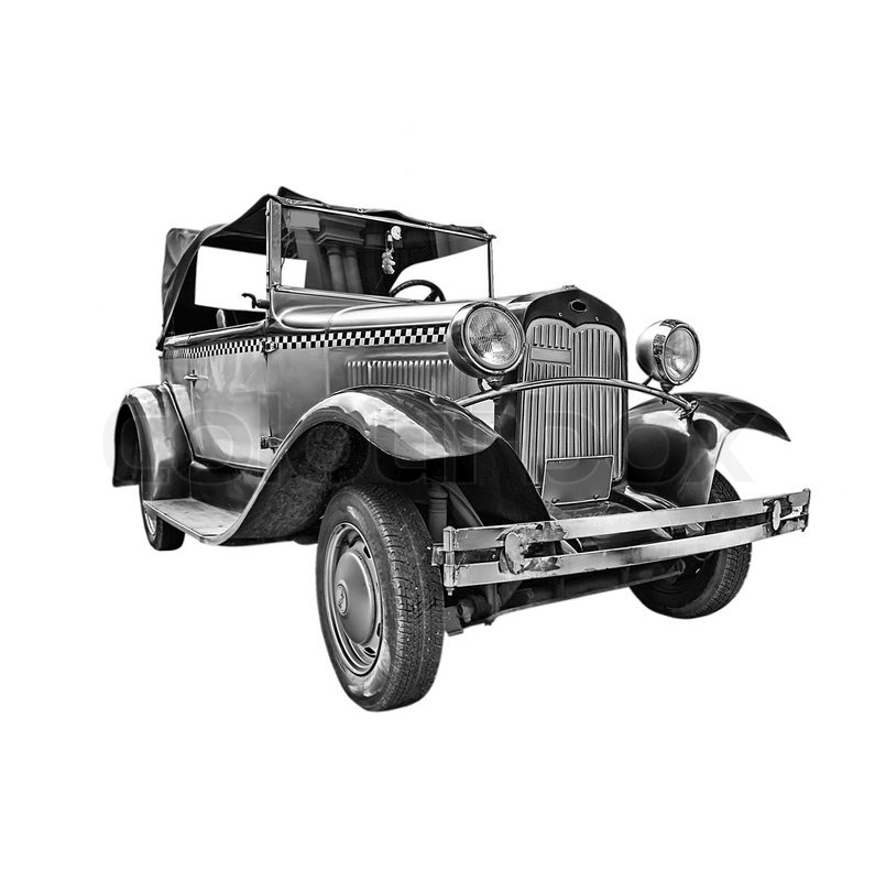 Isolated On White Classic Old Car With Clipping Path Stock Photo