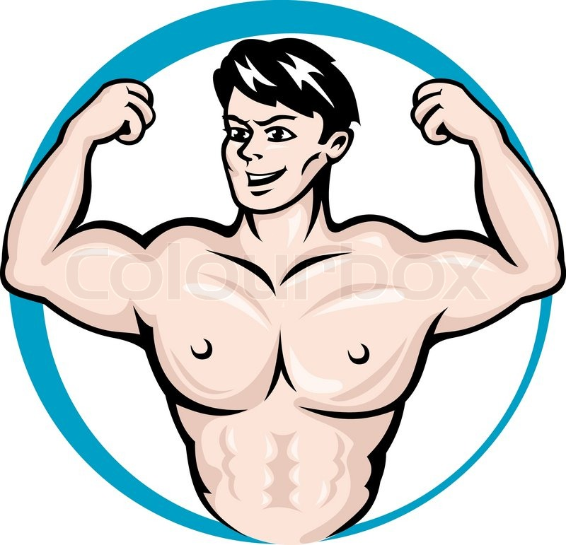 Stock vector of bodybuilder man with muscles for sports and fitness