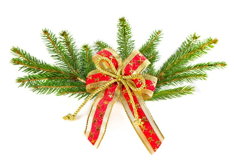 christmas tree branch with red ribbon christmas decoration stock photo colourbox - Christmas Ribbon Decorations