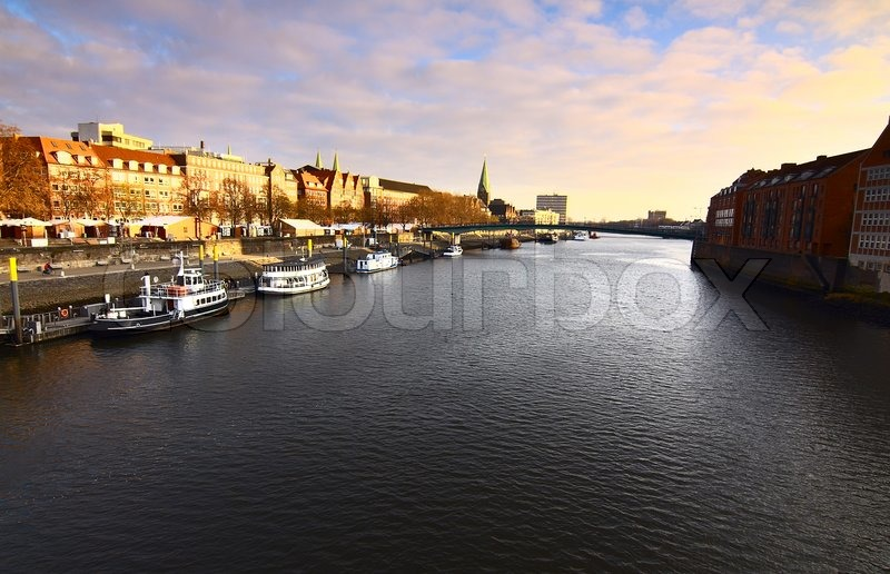 Stock image of 'View on river Weser in Bremen, Germany, during the day'