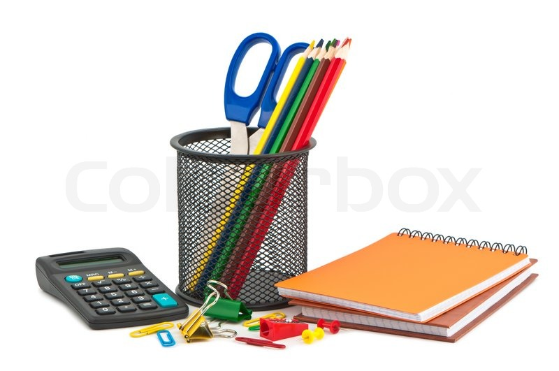 different set of stationery items on white background stock photo
