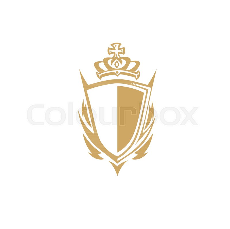 Golden shield with crown,empire symbol     | Stock vector