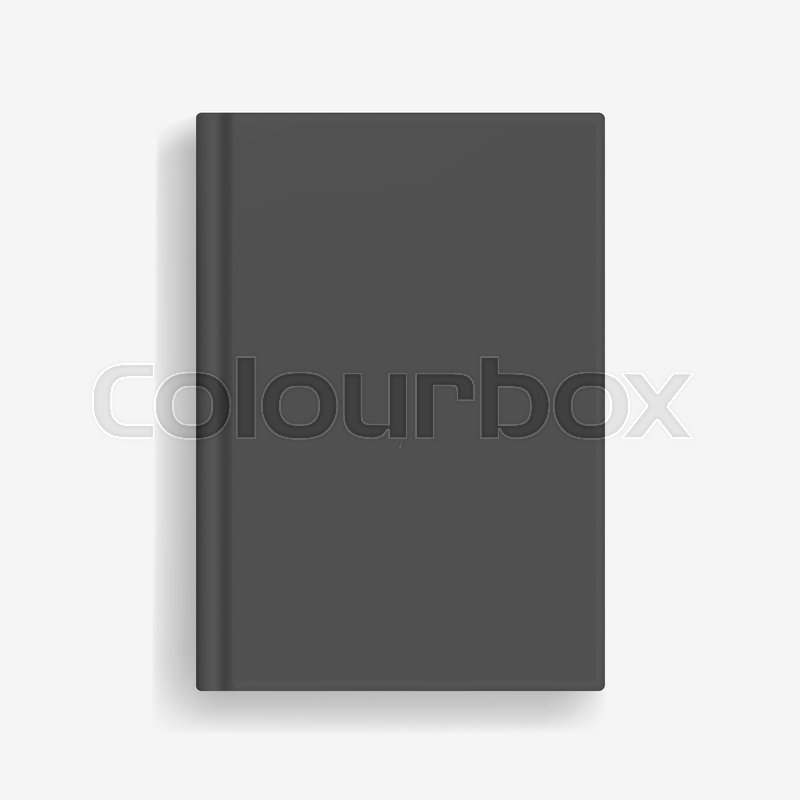 Rectangular vector blank black realistic book mockup, closed ...