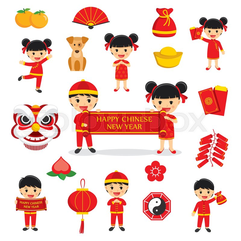 Happy Chinese New Year Decoration Traditional Symbols Set With