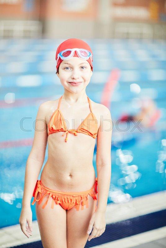 Bikini girl pool swimming