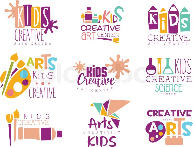 Kids Creative Class Template Promotional Logo Set With Symbols Of