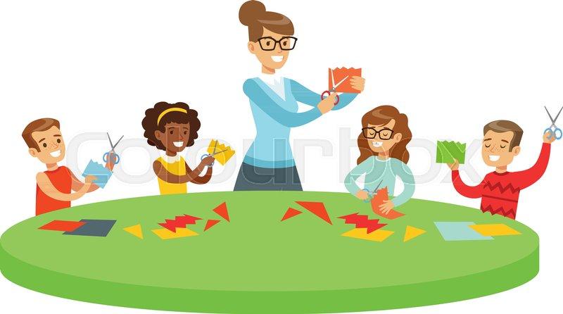 Children In Art Class Two Cartoon ... | Stock Vector ...