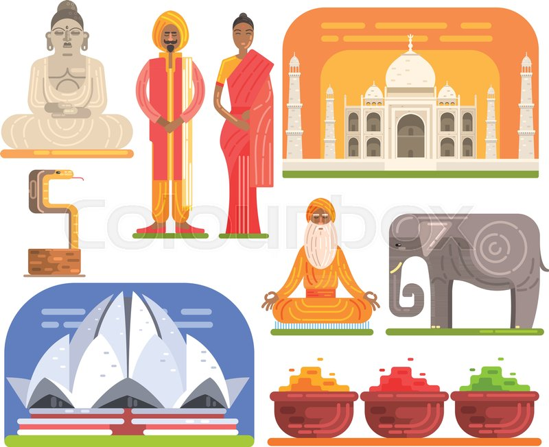 Famous Touristic Attractions To See In India. Traditional Tourism Symbols Of Indian Culture Including Clothing, Architecture And Religious Habits. Set Of Colorful Vector Illustrations With Travelling Destination Well-Known Objects, vector