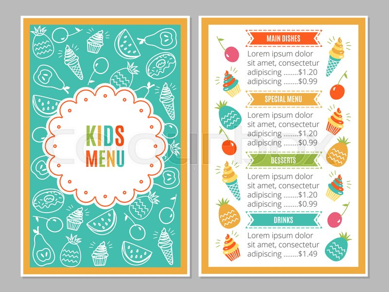 Cute colorful kids meal menu vector template | Stock Vector | Colourbox