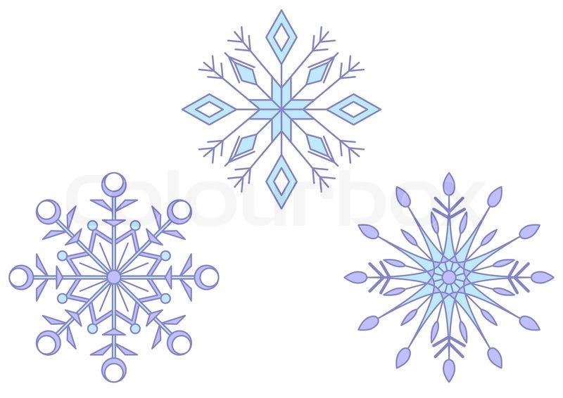 Christmas Decoration: Set Blue Snowflakes On White Background | Stock Photo  | Colourbox