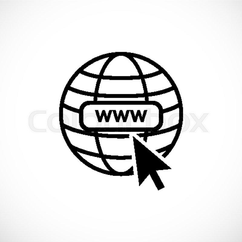 www internet icon favicon with arrow mouse cursor stock vector