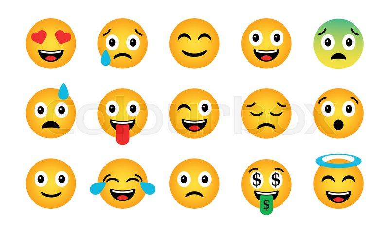 Emoji Set Cute Funny Emotional Icons Happy Emoticons Smiling