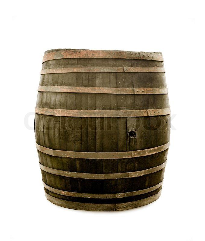 big old wine barrel isolated on white background stock