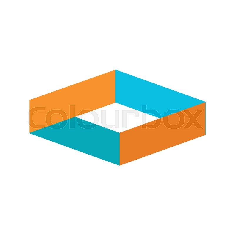 Volume Hexagonal Block Intersection Symbol Vector Illustration