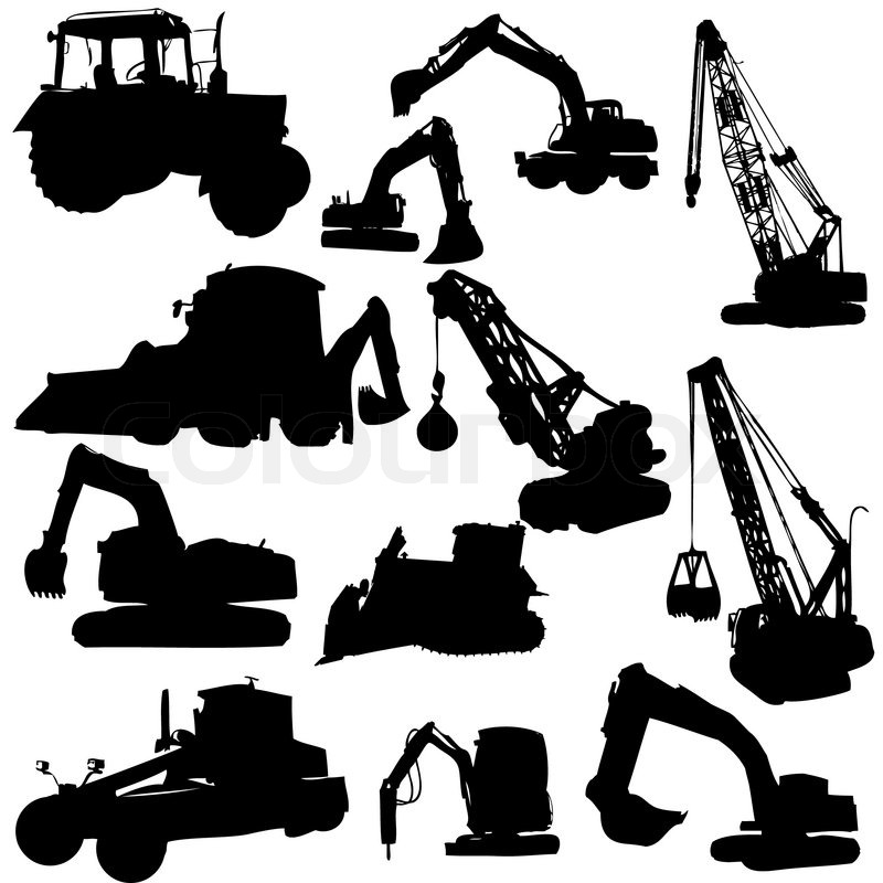 Set of vector silhouettes ofconstruction machine | Stock ...