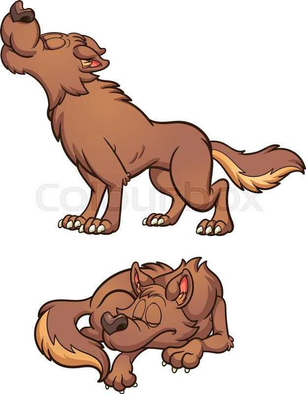 cartoon brown wolf howling and sleeping. vector clip art
