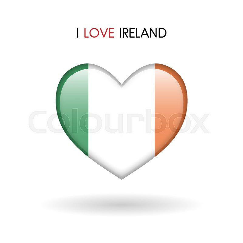 Love Ireland Symbol Flag Heart Glossy Icon On A White Background