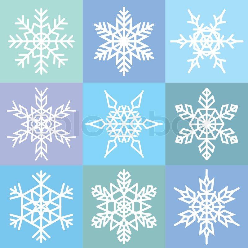 Set von 9 schneeflocken in einem patchwork muster vektorgrafik