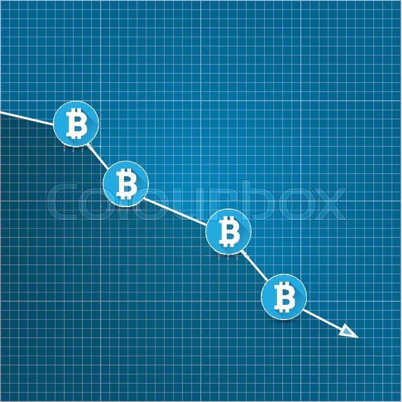Lovely Vector Bitcoin Market Crash Graph On Blueprint Background. Bitcoin Hype  Concept Vector Illusrtation With Blank Space Fo Text. Depreciation Of  Bitcoin.