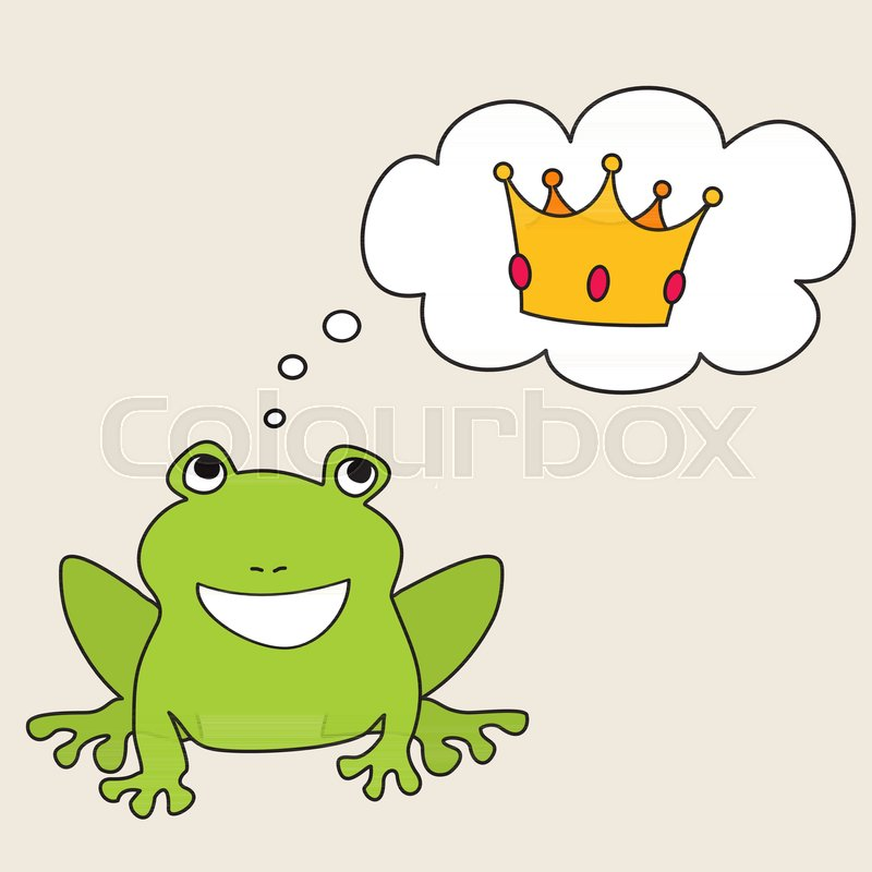 prince or princess frog dreaming about crown vector illustration rh colourbox com Turtle Vector Leaping Frog Clip Art