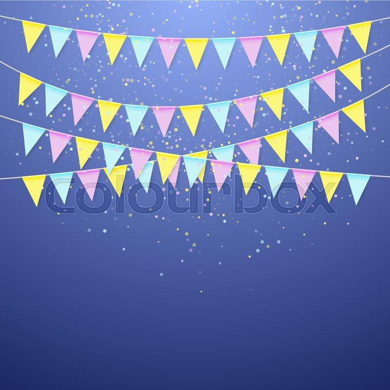 color festival triangular flag garland decoration banner for
