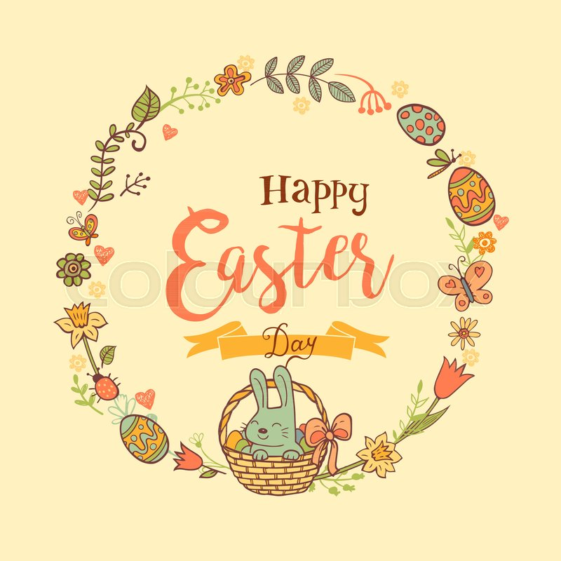 Cute easte festive frame for greeting card with holiday traditional cute easte festive frame for greeting card with holiday traditional symbols in doodle style with cute easter bunnes on beige background m4hsunfo