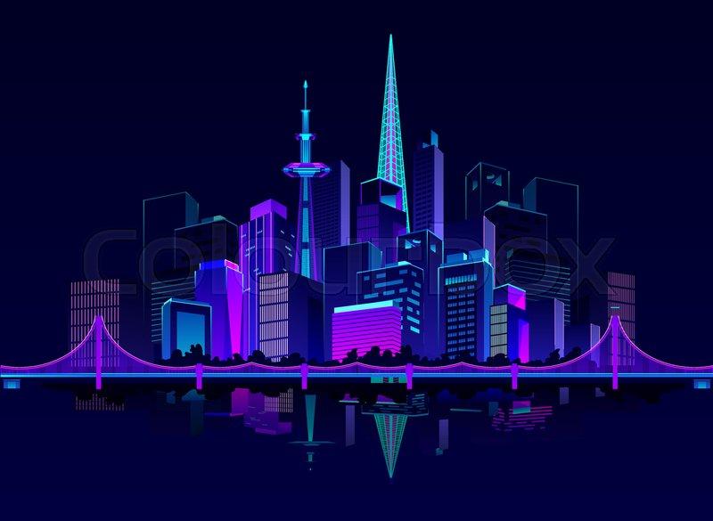 Vector Illustration Of A Night Neon Stock Vector