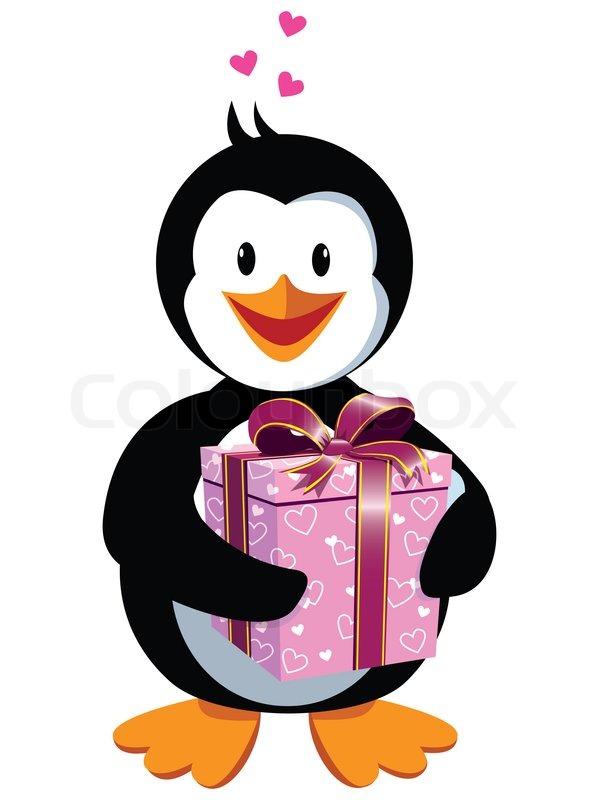 Niedlichen Pinguin Verliebt Stockfoto Colourbox
