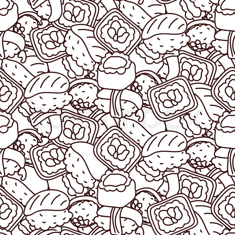 Sushi coloring page vector seamless pattern. Japan food ...
