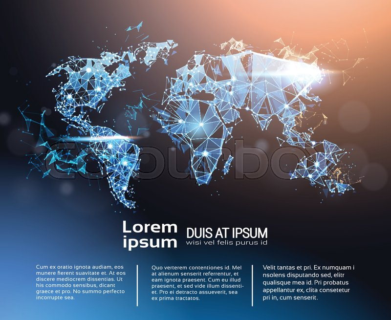 Polygonal world map infographic banner with copy space global polygonal world map infographic banner with copy space global travel and international connection concept vector illustration stock vector colourbox gumiabroncs Images