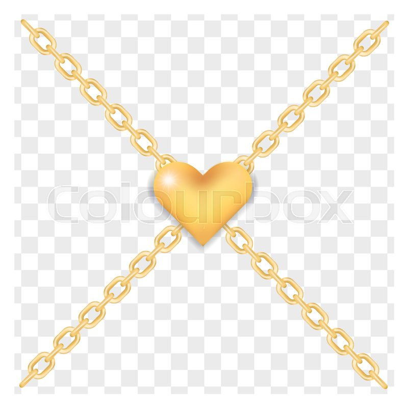 Elegant Golden Heart On Crossed Gold Ring Chains On Transparent