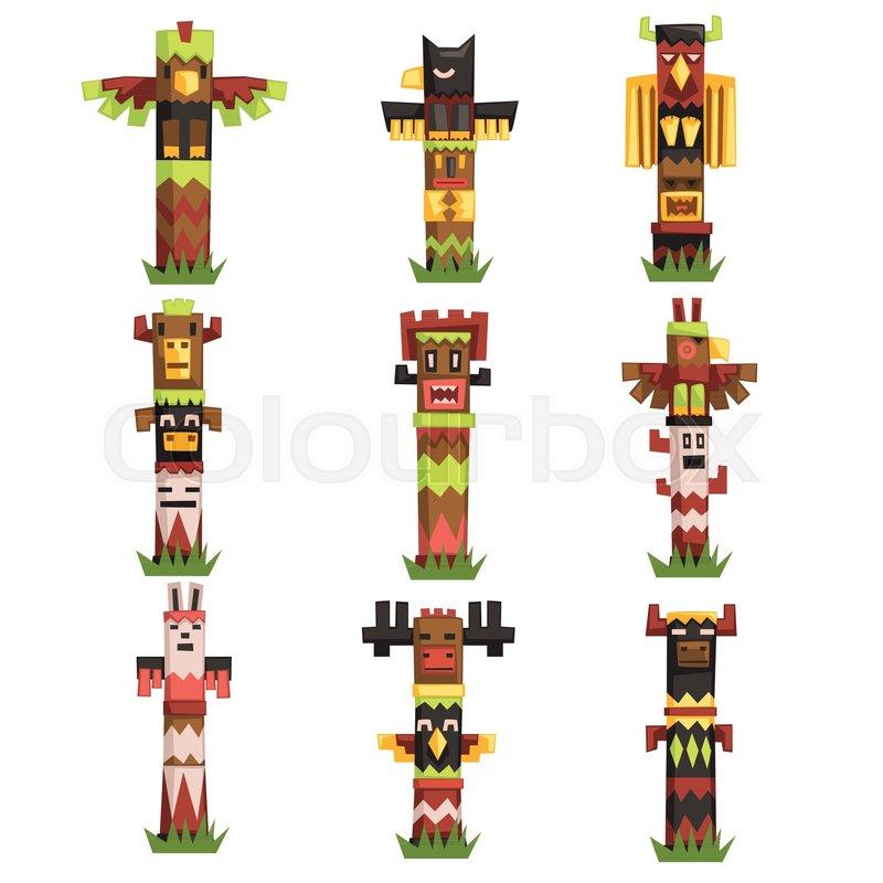 Traditional Religious Totem Poles Set Native Culture Tribal Symbol