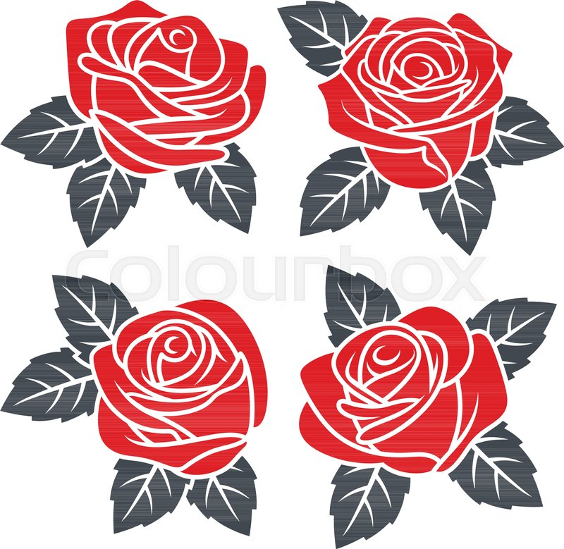 Silhouettes of red roses isolated on white background use for use for fabric design tattoo pattern and decorating greeting cards and invitations stock vector colourbox m4hsunfo