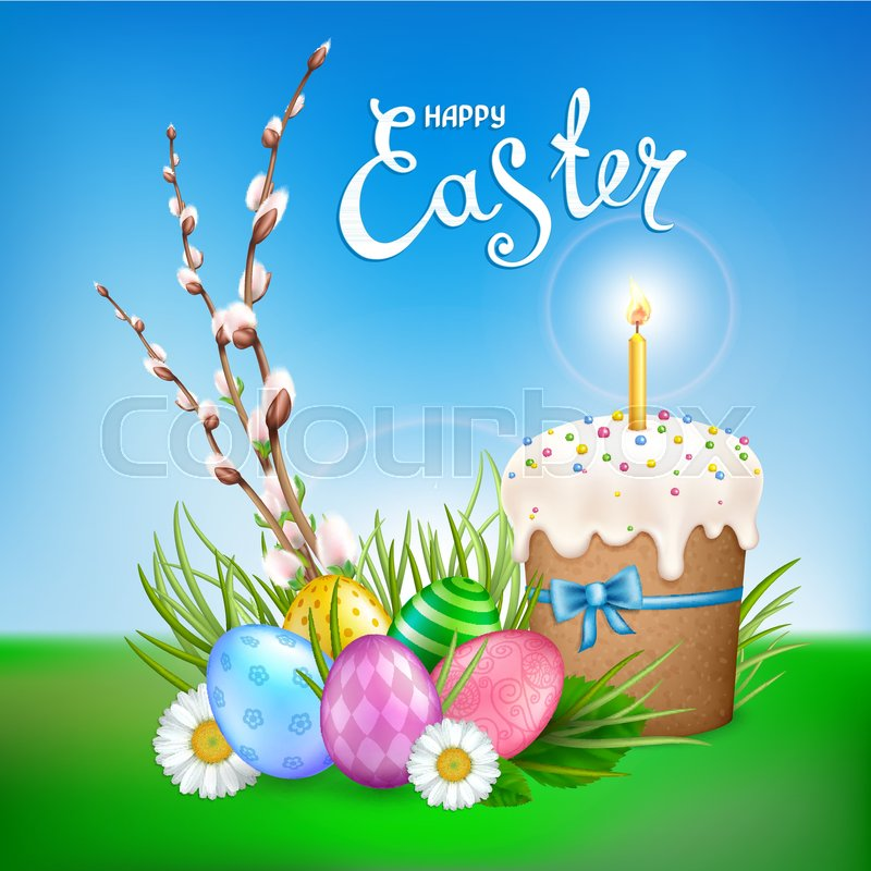 Easter Composition With Realistic Glossy Eggs Cake Candle Willow