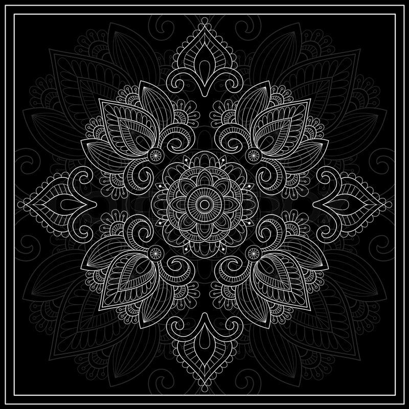 Black And White Bandana Print With Paisley Square Pattern Design Best Bandana Pattern