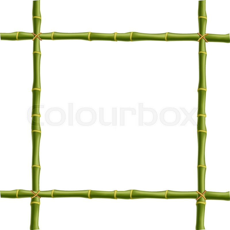 wooden frame made of green bamboo sticks bounded with rope and empty rh colourbox com bamboo border clipart free