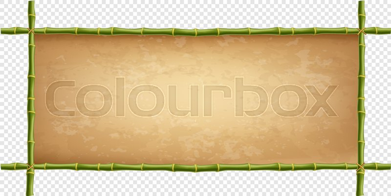 Stock Vector Of Wooden Frame Green Bamboo Sticks With Higly Detailed Vintage Paper Blank