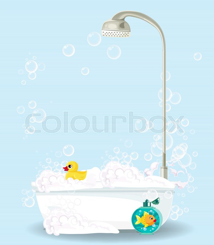 Cute Cartoon Illustration Of Bathtub Full Of Foam, Soap Bubbles, Bottle Of  Shampoo, Rubber Duck Isolated On Blue Background. Comfortable Bathroom  Equipment ...