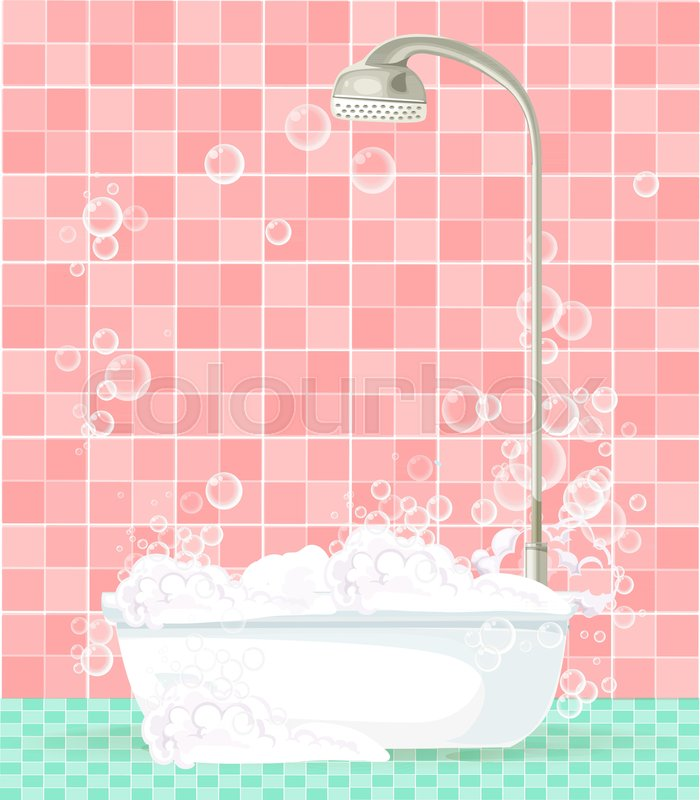 Cute Cartoon Bathroom Interior With Bathtub Full Of Foam Floating Soap Bubbles On Pink Tiled Background Space For Text