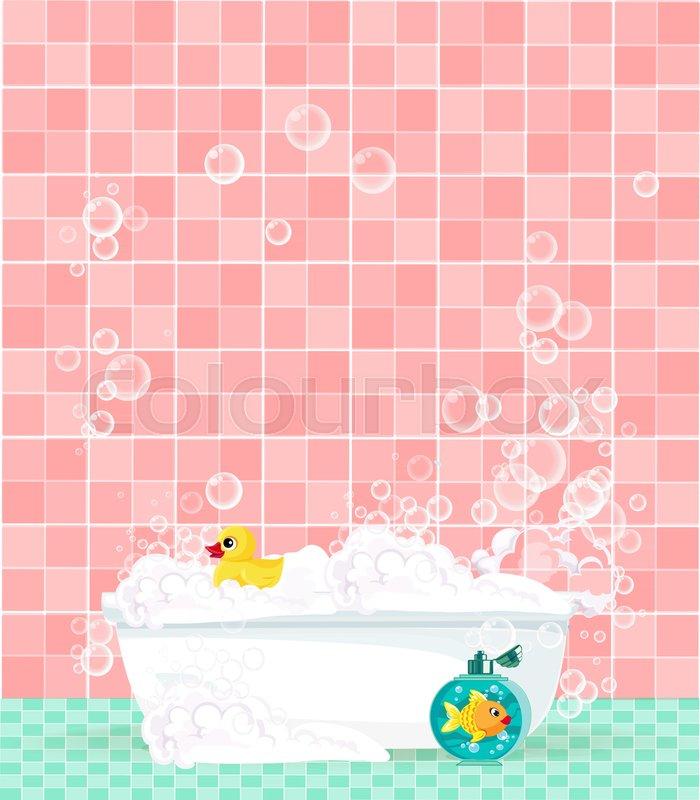 Cute cartoon bathroom interior with bathtub full of foam, soap ...