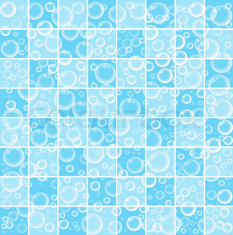 Cute Baby Cartoon Wallpaper With Floating Bubbles On Blue And White Tiled Bathroom Background Vector Illustration Banner Poster Template