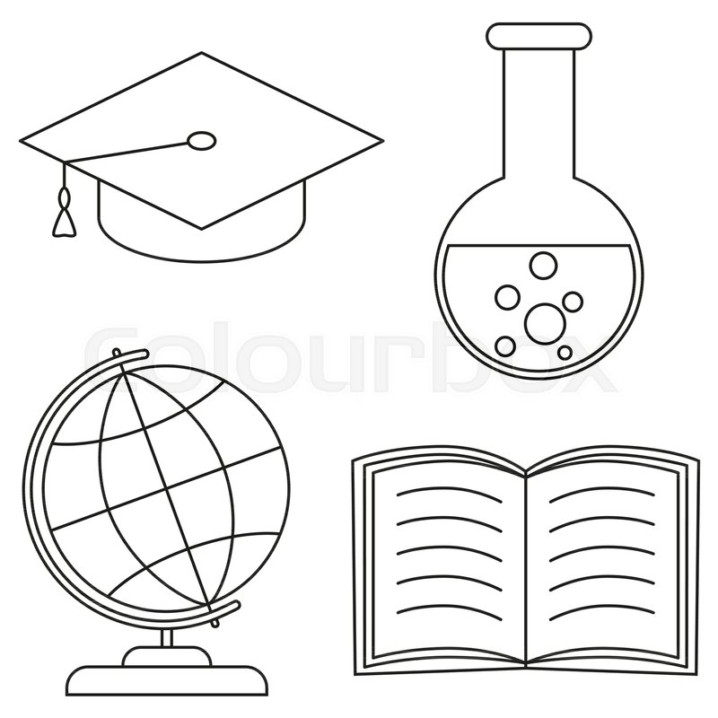 School college university science line art icon set poster. Coloring ...