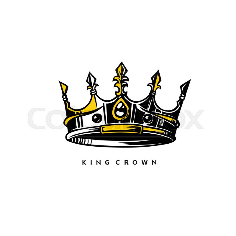 silver and gold king crown logo on white background with