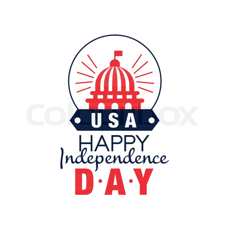 Happy Independence Day Emblem In Monochrome Style Silhouette Of United States Capitol 4th Of July Symbol Of America In Red And Blue Colors Flat