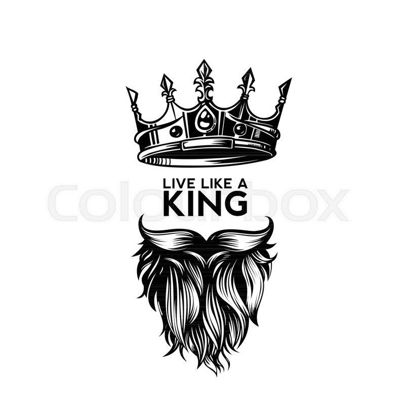 king crown moustache and beard on white background logo with rh colourbox com Black and White King Crown king crown vector png