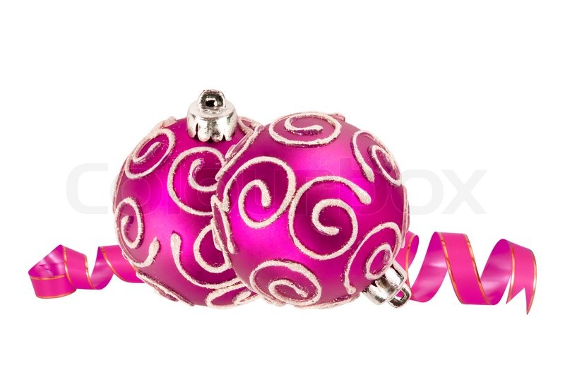 Sch ne rosa weihnachtskugeln isoliert auf wei stockfoto for Pinke weihnachtskugeln